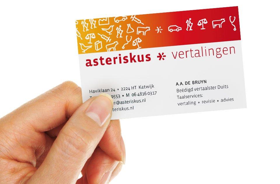 ontwerp van visitekaartje voor Asteriskus vertaalburo