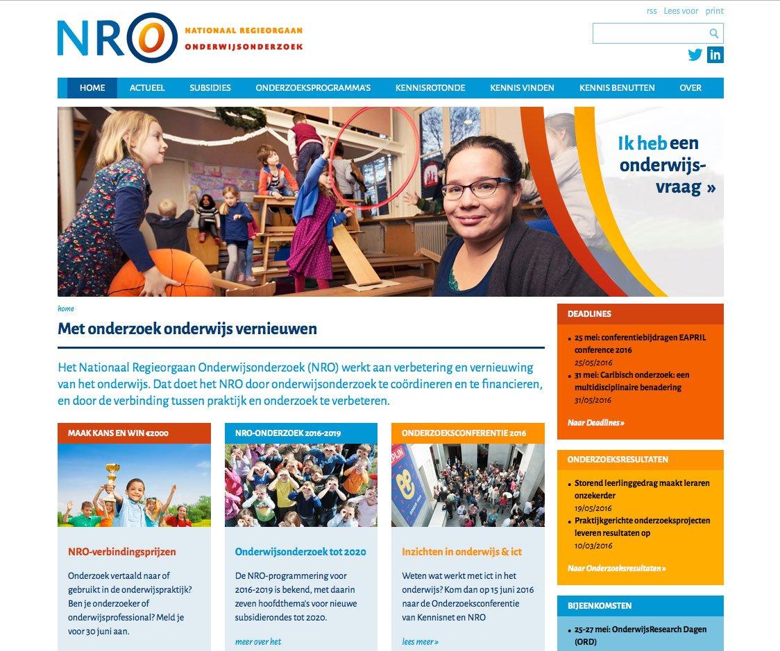 Website ontwerp NRO (Nationaal Regieorgaan Onderwijsonderzoek)