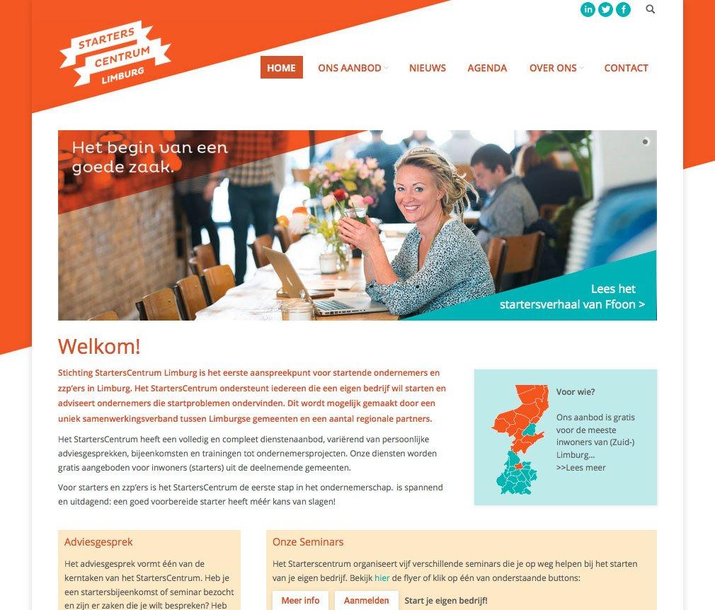 website ontwerp en uitvoering starterscentrum limburg homepage