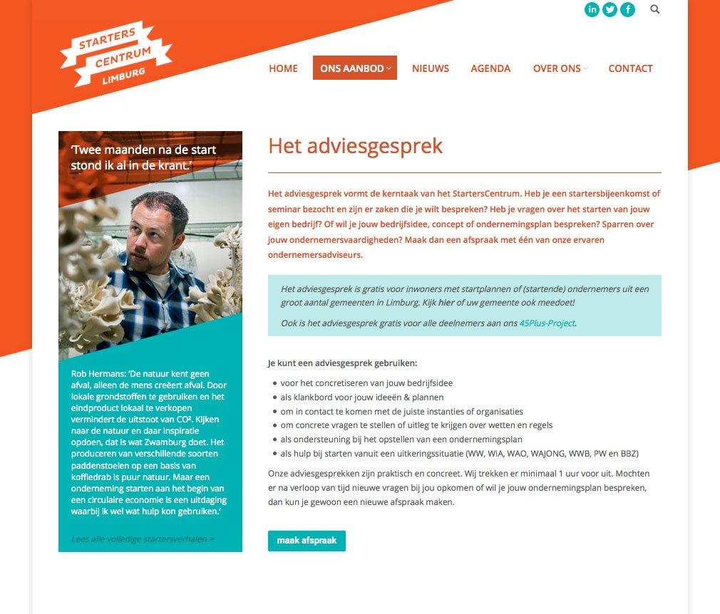 Website ontwerp voor het Starterscentrum Limburg