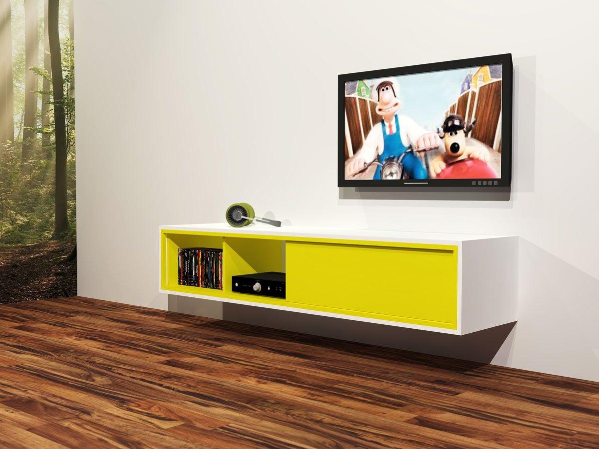 Render illustratie van zelf getekend zwevend TV meubel