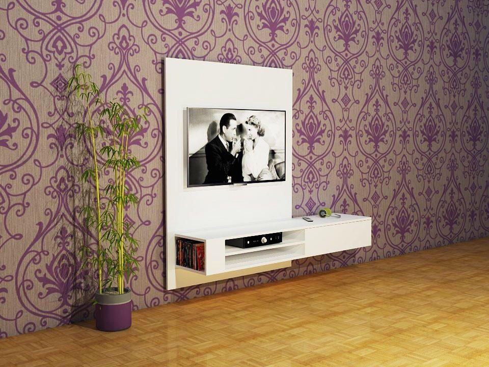 Render illustratie van zelf getekend hangend TV meubel