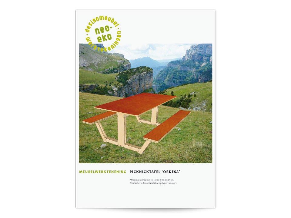 Brochure van een handleiding van een Picknicktafel van Neo-Eko Meubelwerktekeningen