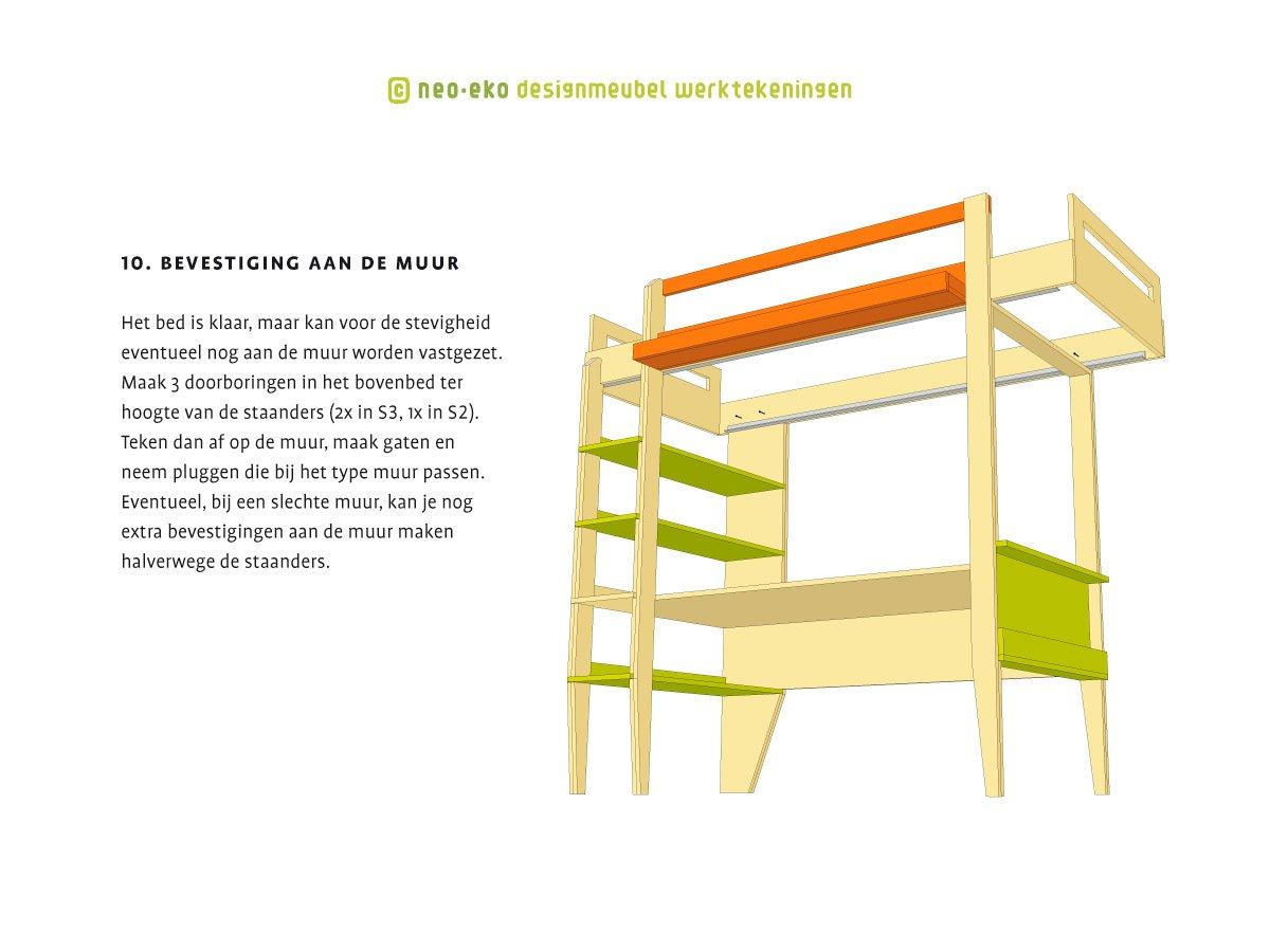 instructietekening in handleiding voor het zelf maken van design hoogslaper neo-eko