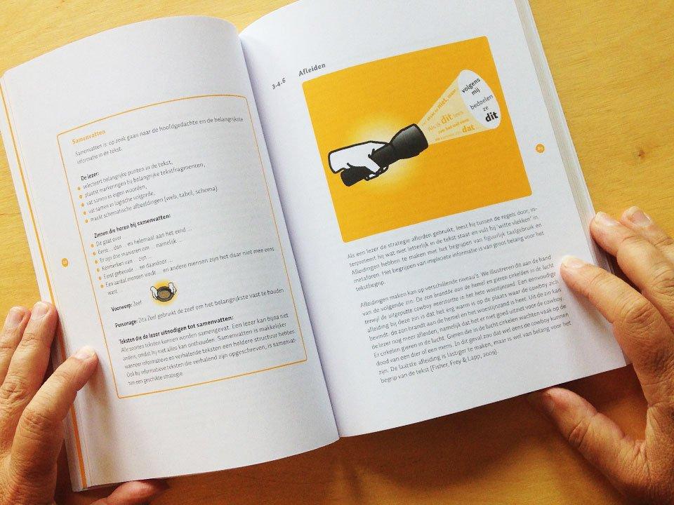 """illustraties """"begrijpend lezen"""": samenvatten en afleiden toegepast in het boek Lezen, denken begrijpen van CPS"""