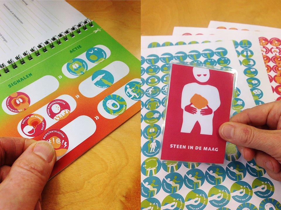 illustraties voor kaartjes en stickers met iconen signalering coping signaal actie voor locus training