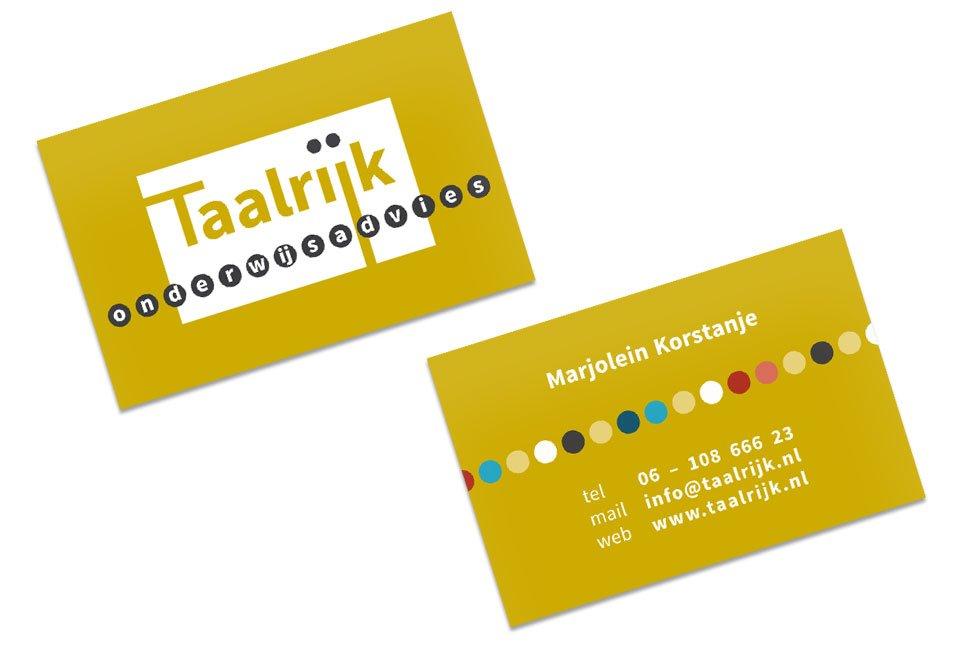 Logo en visitekaartje voor Taalrijk Onderwijsadvies