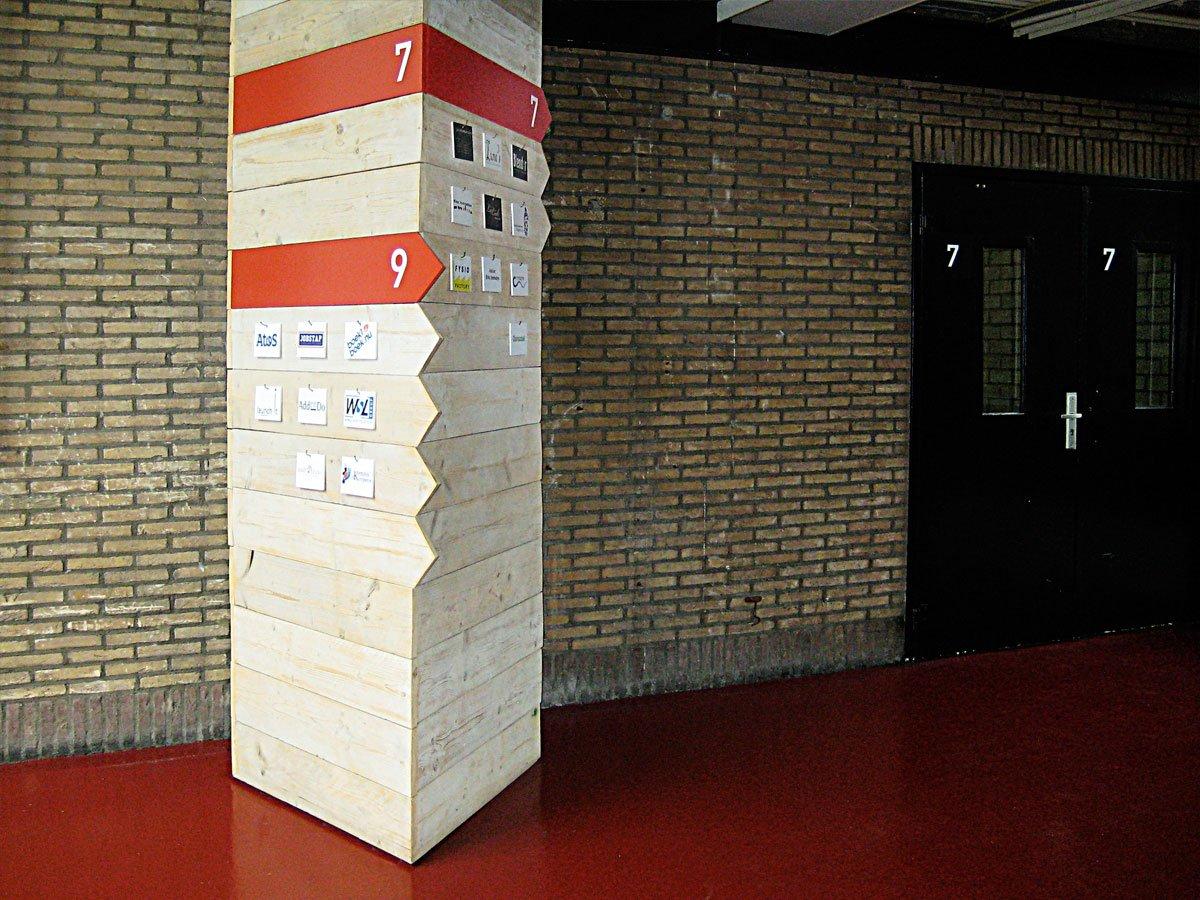 bewegwijzerings zuil met pijlen bordjes voor bedrijfsverzamelgebouw cmil