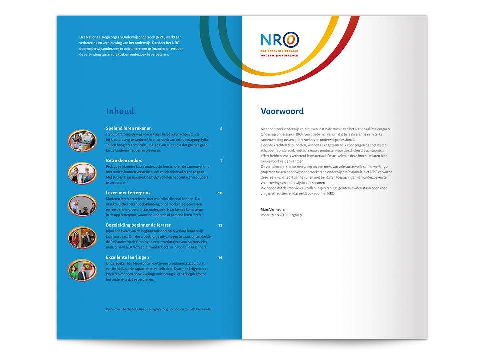 Pagina's uit de de publieksbrochure 'Hier leren we van' van het Nationaal Regieorgaan Onderwijsonderzoek