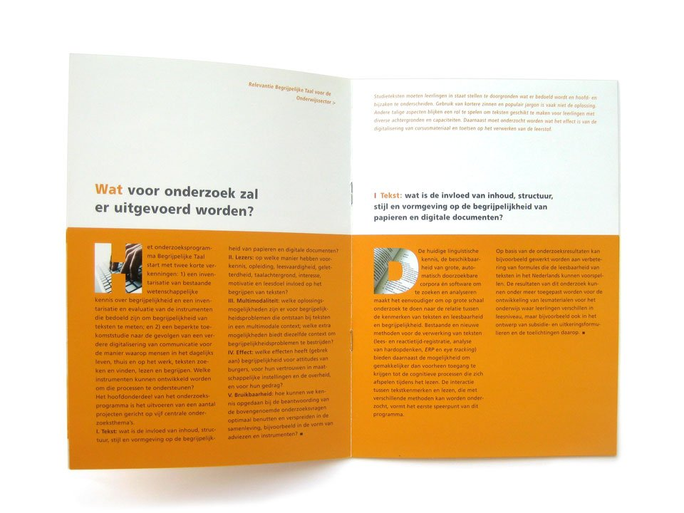 Binnenwerk van de NWO-Brochure 'Begrijpelijke Taal'