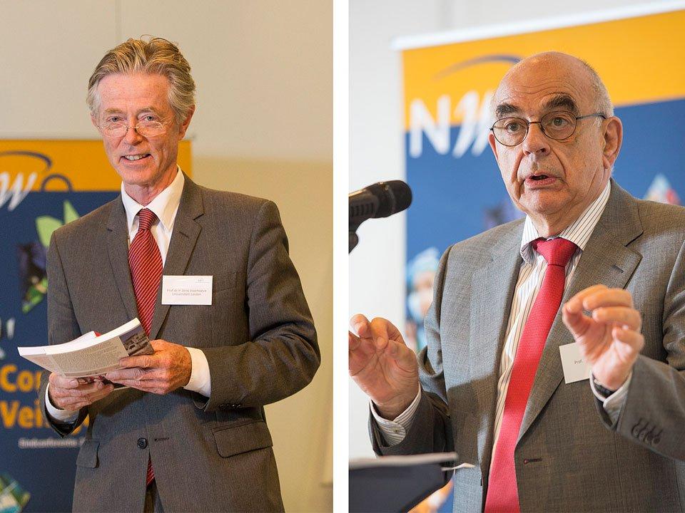 Joris Voorhoeve en Jan Pronk op het congres Conflict & Veiligheid van NWO