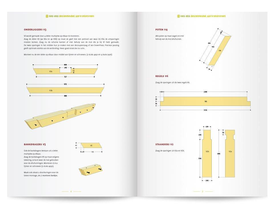Brochure van een handleiding van een Picknicktafel van Neo-Eko Meubel