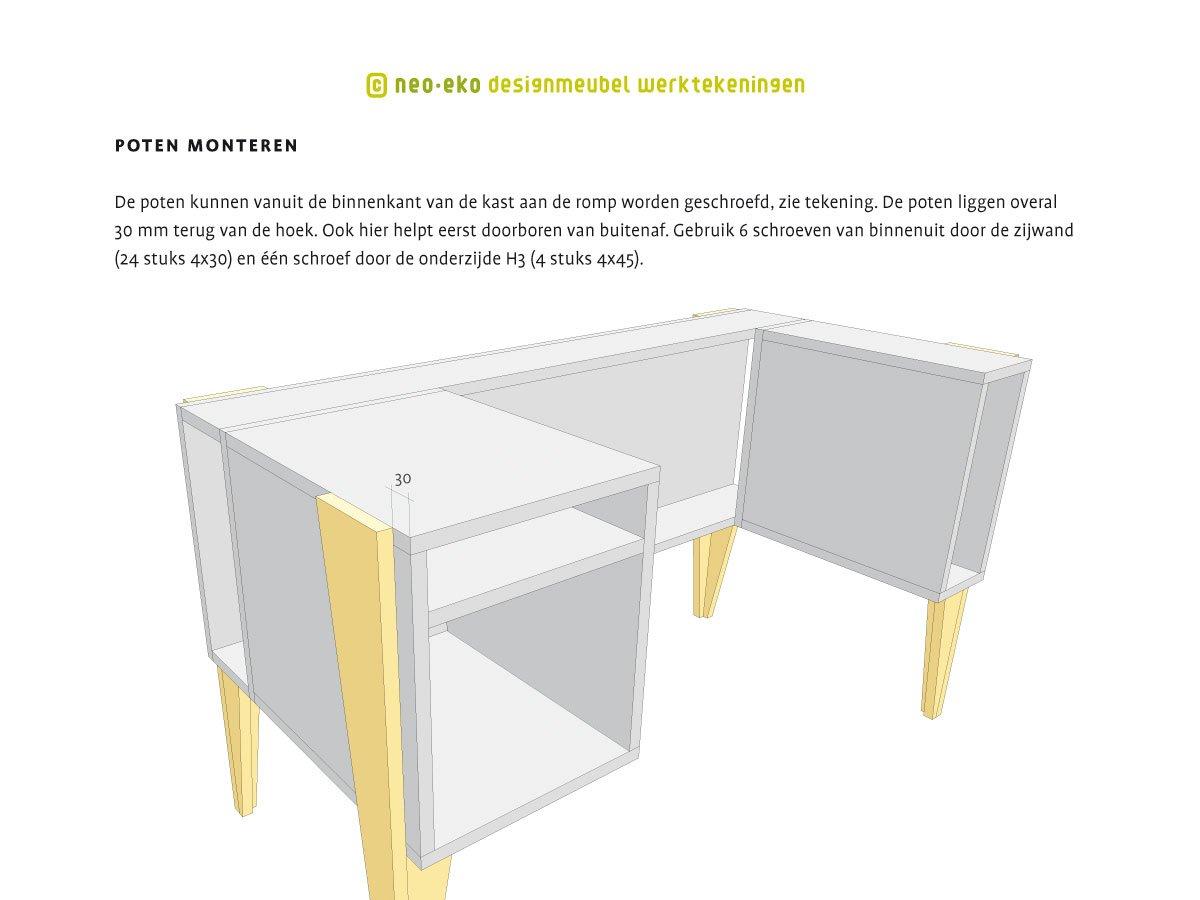 instructietekening in handleiding voor het zelf maken van design buro neo-eko