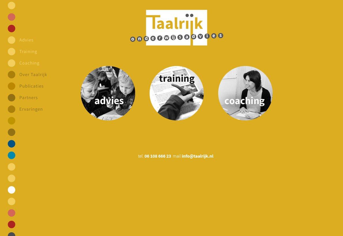 homepage van de website van Taalrijk Onderwijsadvies