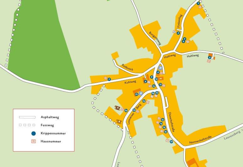 kaart van orsbach met kribkeswandeling