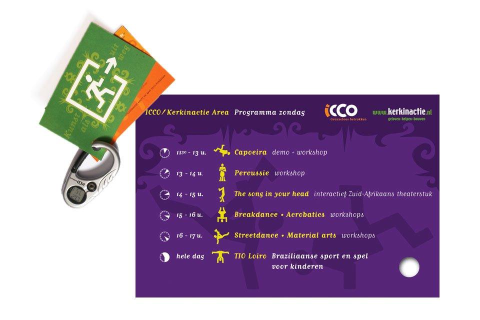 illustratie van een set kaarten aan een karabiner voor icco