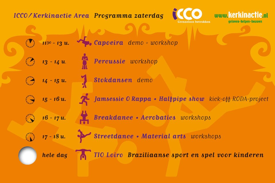 illustratie van een set kaarten voor het icco-programma op Festival Mundial