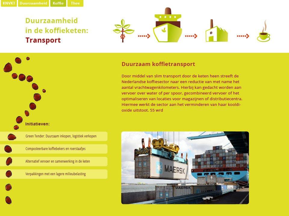 illustraties van de koffieketen (oorsprong, transport, productie, consumptie) toegepast op een website voor de knvkt