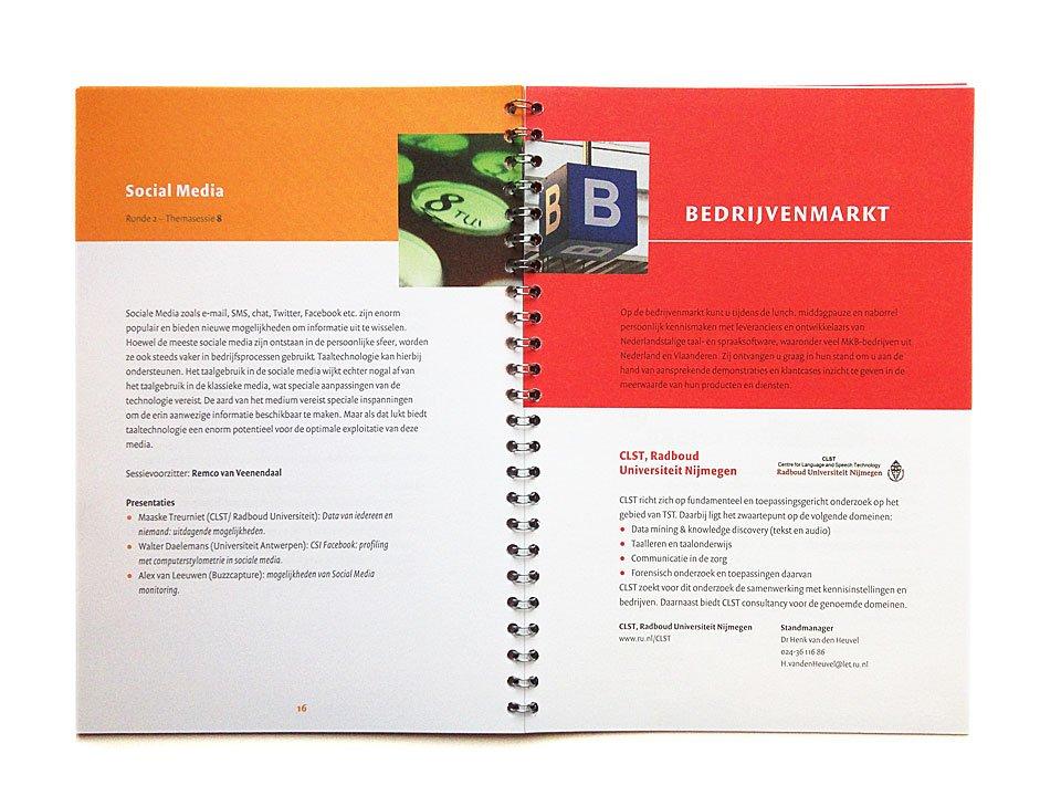 ringband brochure voor het congres Taal in bedrijf van NTU stevin
